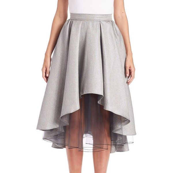ABS Layered Metallic Hi-Lo Skirt ($170) ❤ liked on Polyvore featuring skirts, apparel & accessories, silver, short in front long in back skirt, long high low skirt, metallic skirt, short front long back skirt and mullet skirt