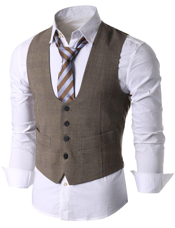 16261daee2c Doublju Men s U-neck Button Front Suit Vest (KMOV036)  doublju ...