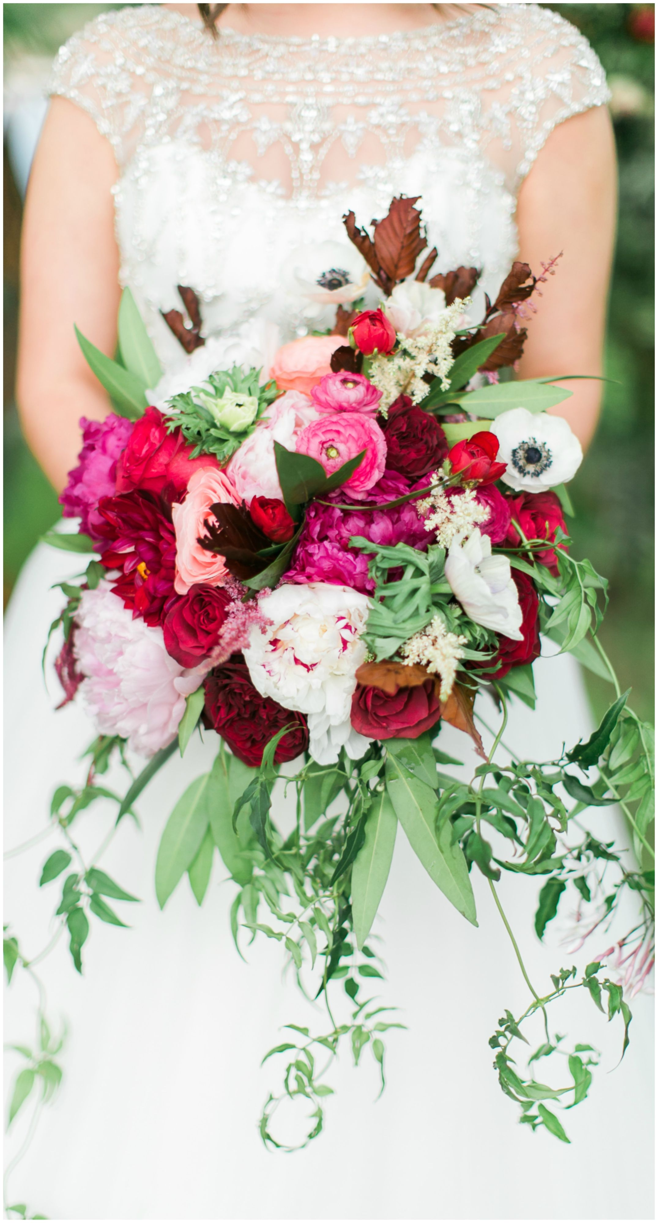 Stunning Bridal Bouquet White Anemones Light Pink Peonies Ranunculus Burgundy Red Dahlias Peonies Dream Wedding Bouquet Wedding Bouquets Wedding Flowers