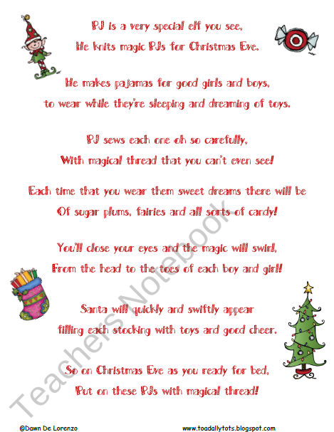 Poems About Christmas Time.Free Pj Elf Poem Christmas Time Christmas Poems Kids