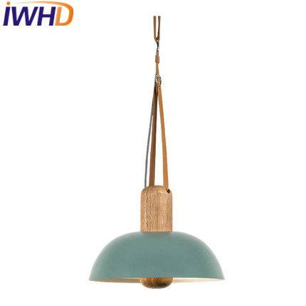 IWHD Iron Hanglamp LED Pendant Light Modern Wood Lamparas de techo - lamparas de techo modernas