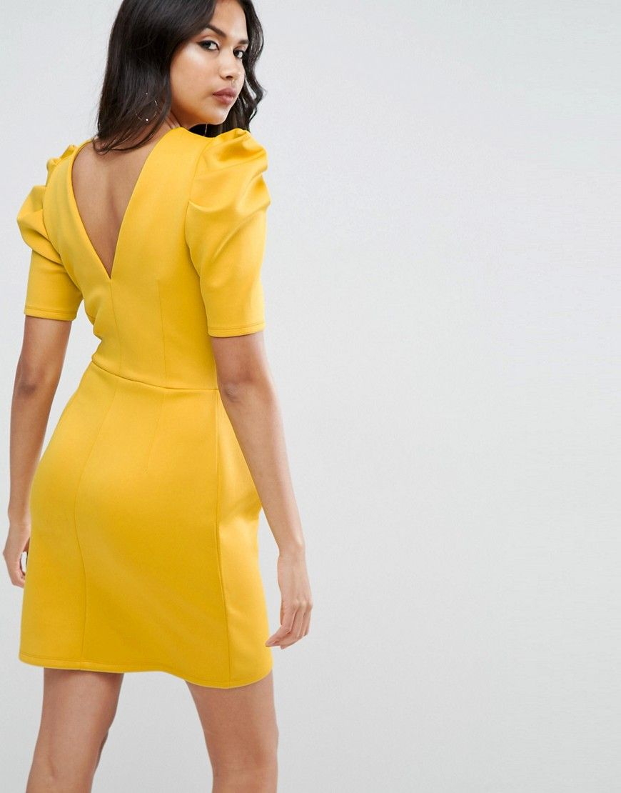 9634b08763c48 ASOS Mini Dress With Ruched Shoulder - Yellow   Pinterest