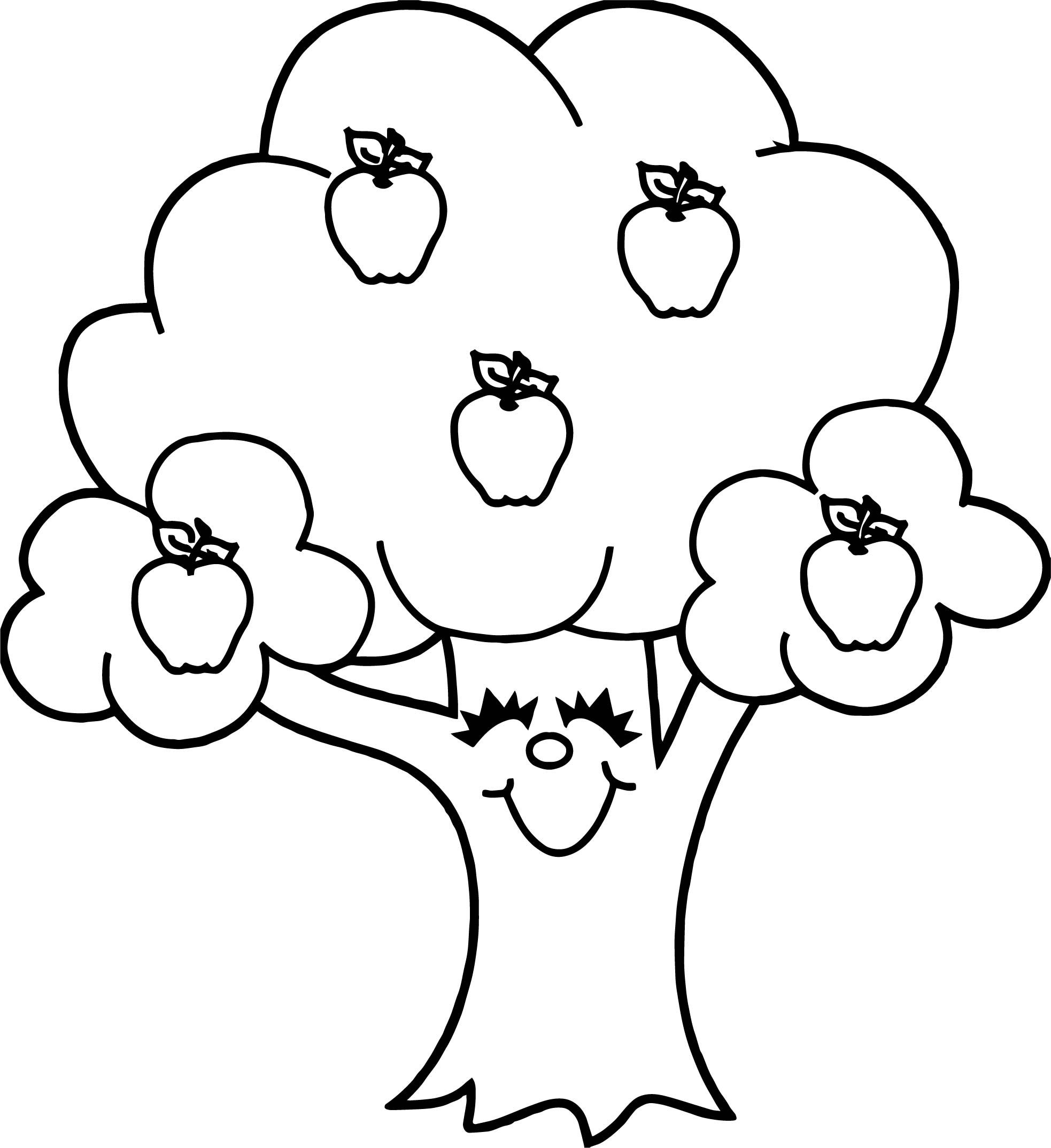 Awesome Funny Apple Tree Coloring Page