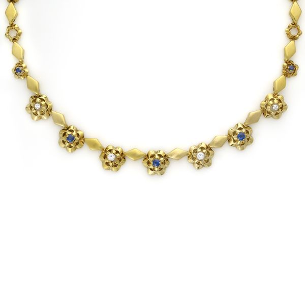 Gubelin 18K Gold, Diamond and Sapphire Floral Necklace