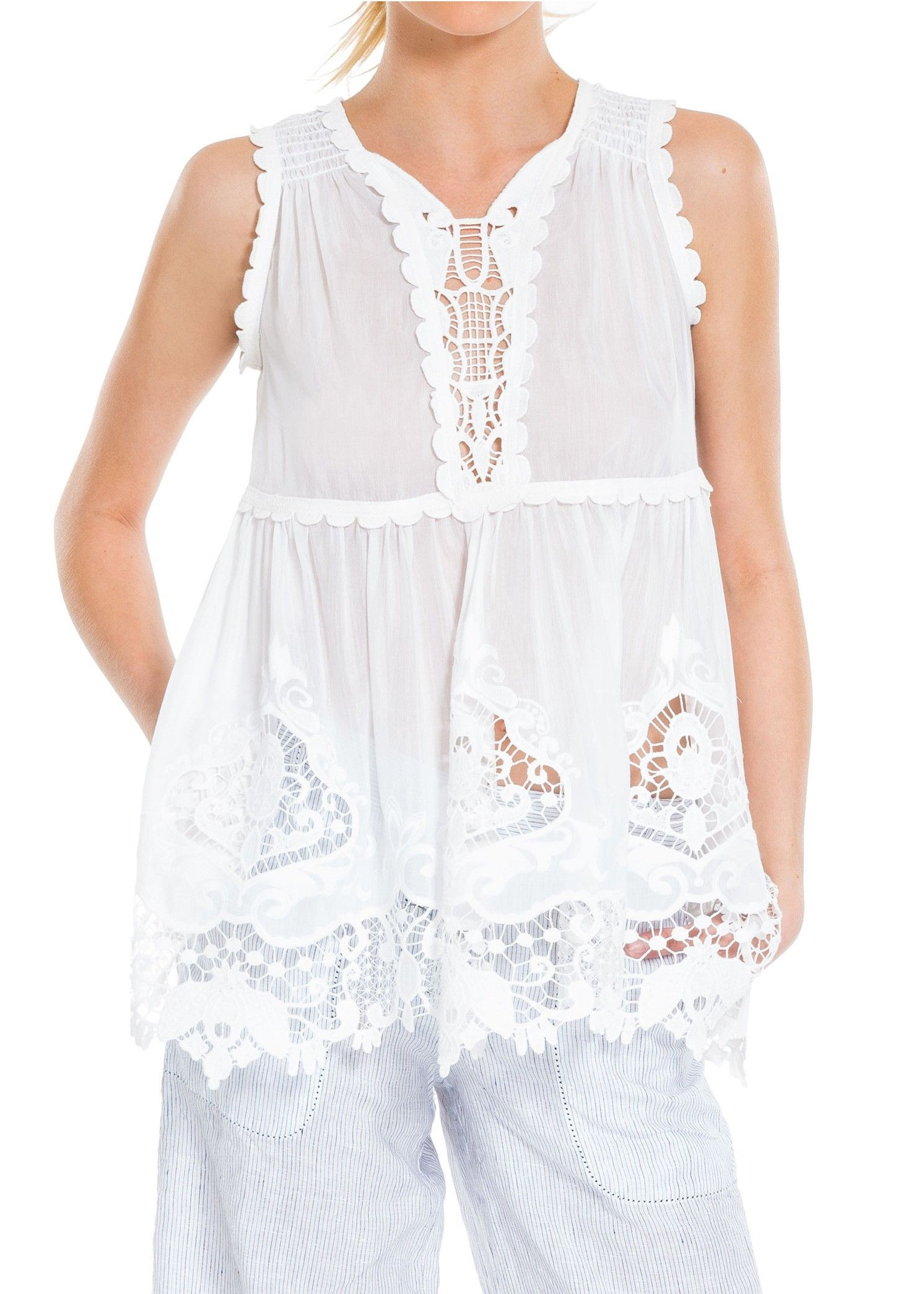 EMBROIDERED COTTON & SILK VOILE SHELL: This light-as-air cotton and silk voile top is accentuated with intricately embroidered inserts lending romantic charm and a subtly vintage vibe.