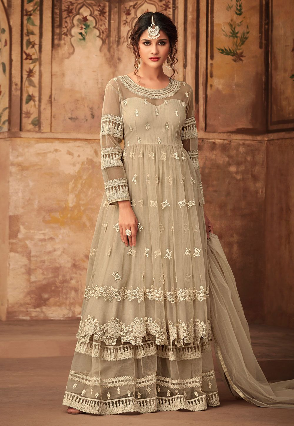 Buy Gray Net Embroidered Sharara Suit 165568 online at lowest price from huge collection of ...