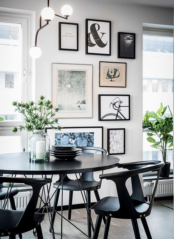 Touches Of Deep Blue In Scandinavian Home | Gallery Wall, Dining And  Kitchen Dining