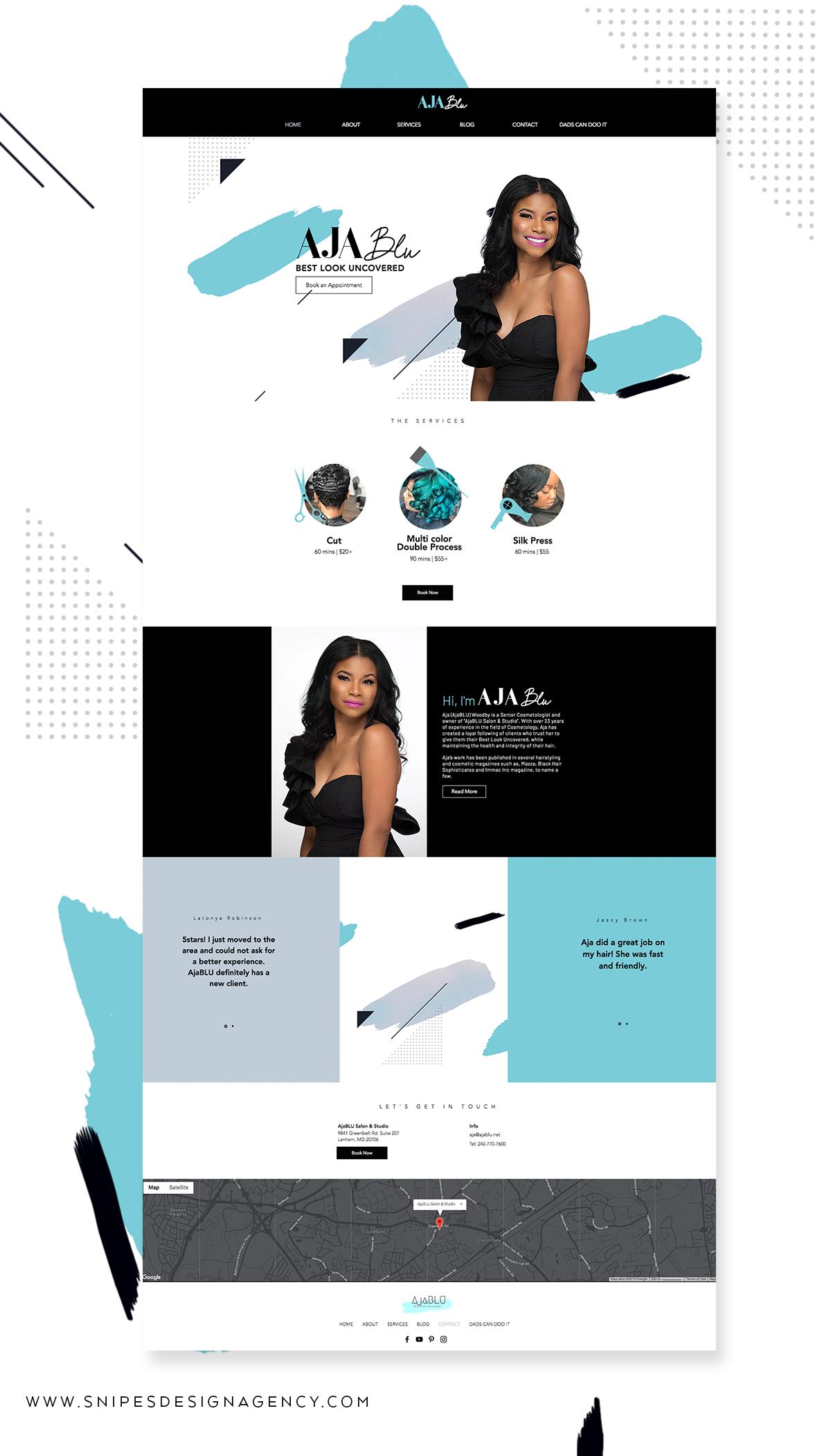 Hair Stylist Website Design Aja Blu Agency Website Design Hair Stylist Logo Design Web Design