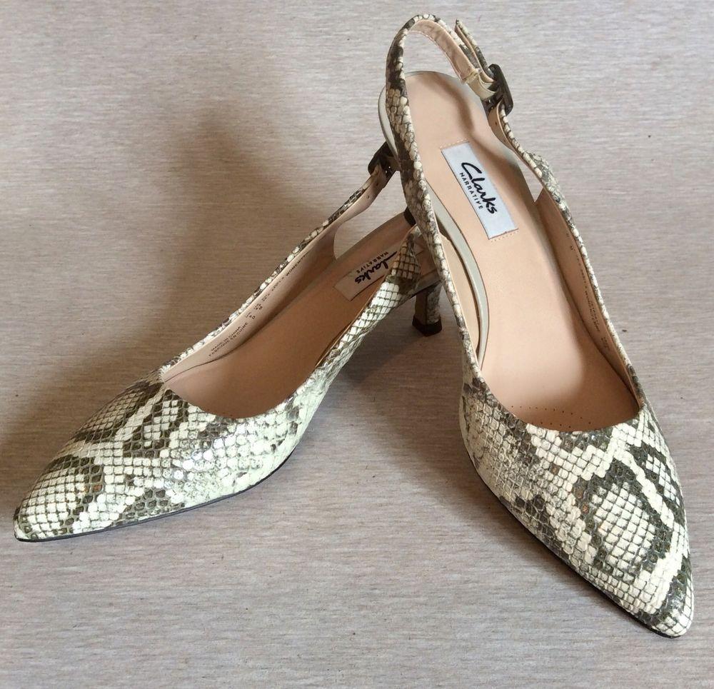 f3a1e6876aa CLARKS NARRATIVE Slingback Snake Python Pump Size 8.5 Kitten Heel Women  Shoes  Clarks  KittenHeels  WearToWorkCasualFormalWedding