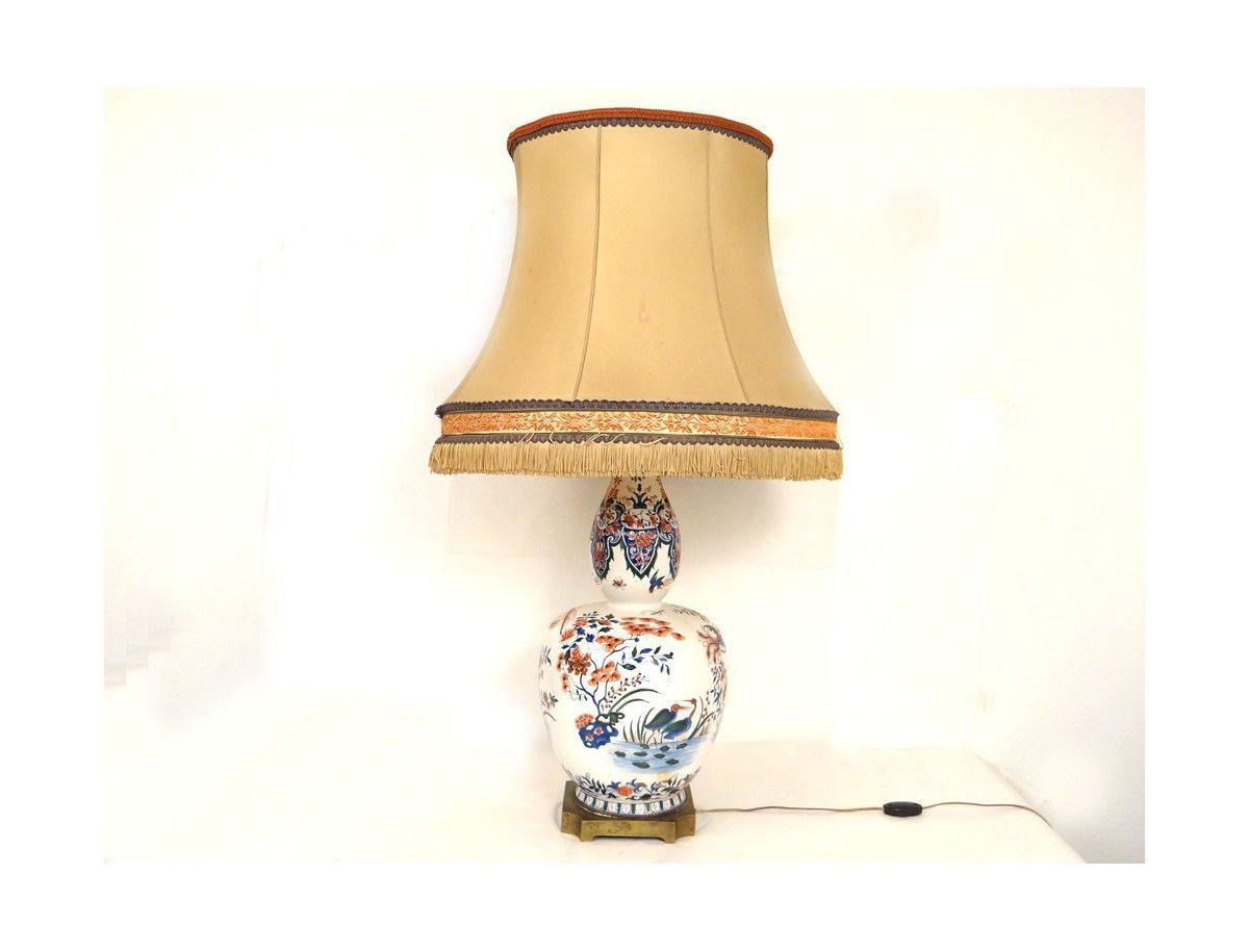 Floral Animalier Et Décor Lampe D'époque Rouen Xixème Faïence Fin k0wn8OP