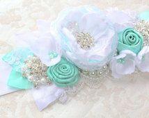 """Aqua White Beaded Sash """"Isabelle"""" Bridal Wedding Ribbon Sash/ Handmade Accessory/ Free shipping on Additional Items"""