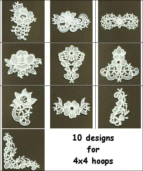 Stand Alone Lace Embroidery Designs : Floral free standing lace edging machine embroidery set