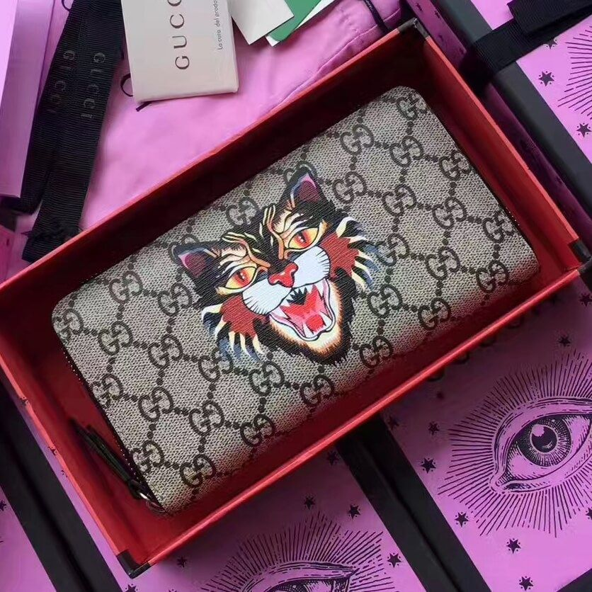 b524a266225c Gucci Angry Cat Print GG Supreme Zip Around Wallet 451273 2017 Gucci Bags,  Gucci Handbags