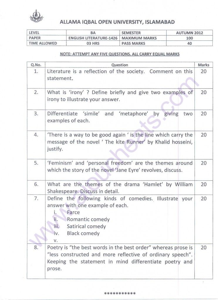 English literature term papers