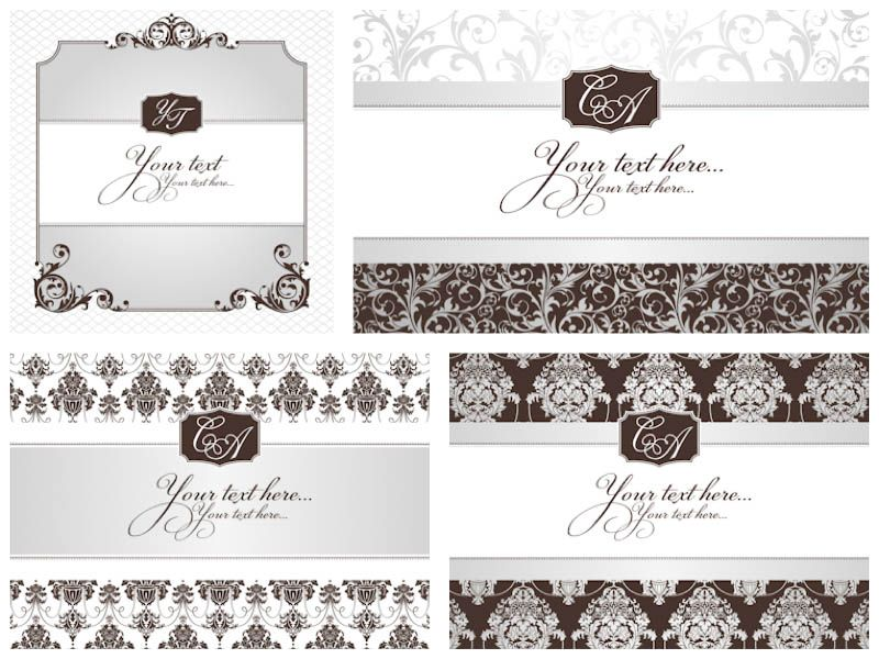 Classic decorative wedding invitations vector invitations classic decorative wedding invitations vector stopboris Image collections