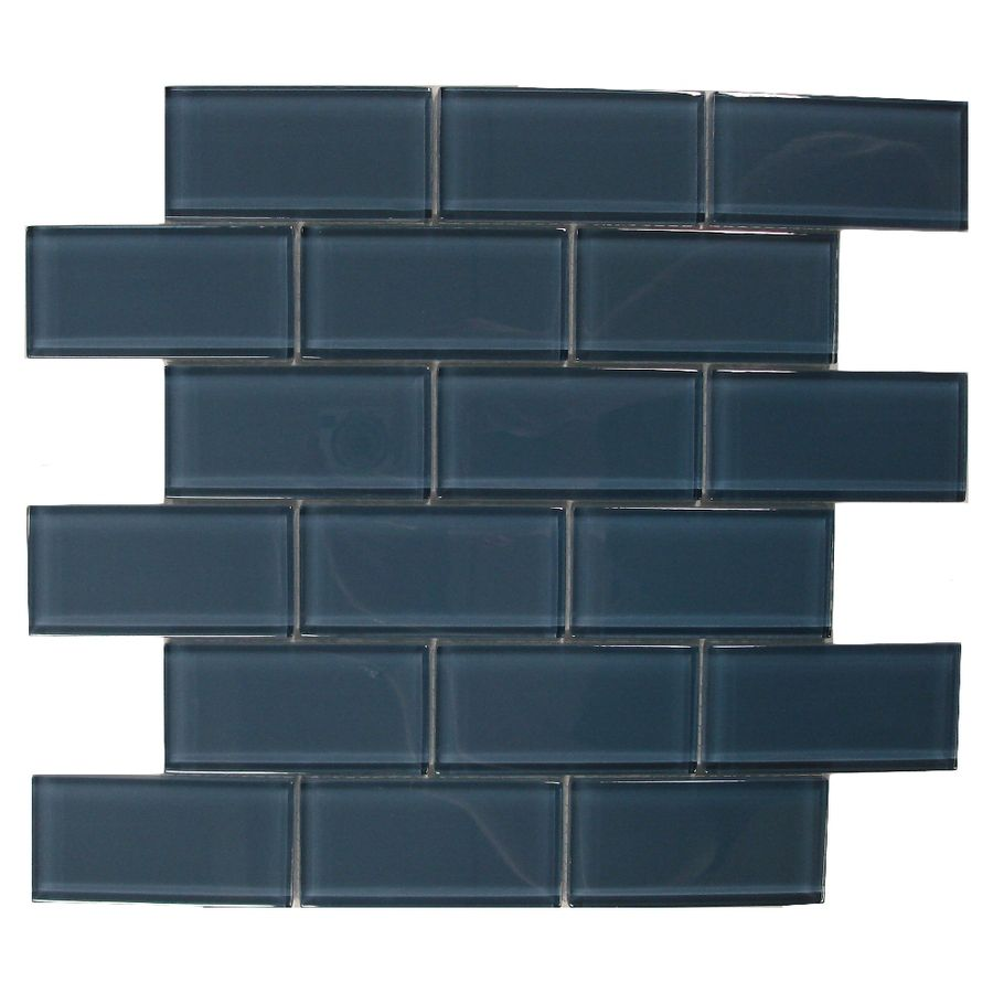 Backsplash -- American Olean 12-in x 12-in Delfino Glass Denim Glass ...