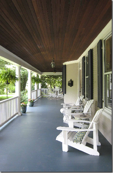 Long Wide Porch Switch Dark Planked Ceiling And Painted