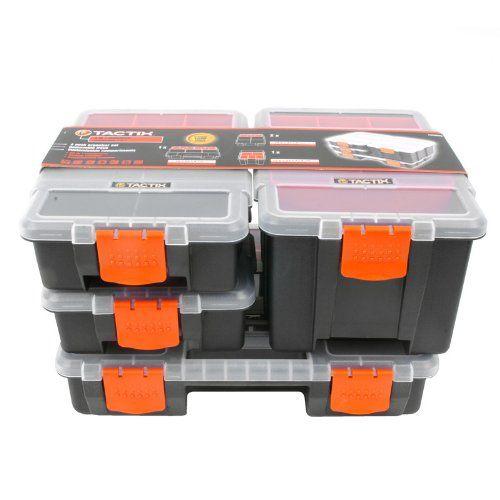 Tactix 320020 4 In 1 Plastic Tool Organizer Set Black Orange Garage Storage Systems Storage Sheds For Sale Tool Organization