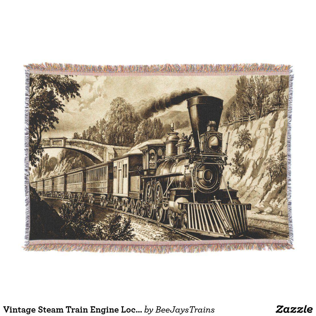 Vintage Steam Train Engine Locomotive Sepia Throw Blanket Zazzle Com Blue Throw Blanket Train Engines Blue Throws