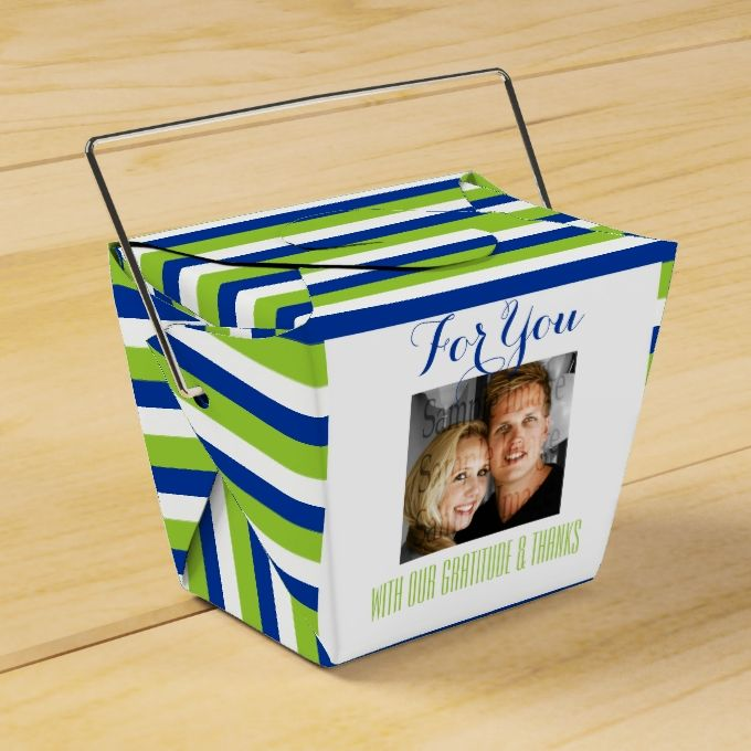 Blue green wedding PHOTO 3 Party Favor Boxes