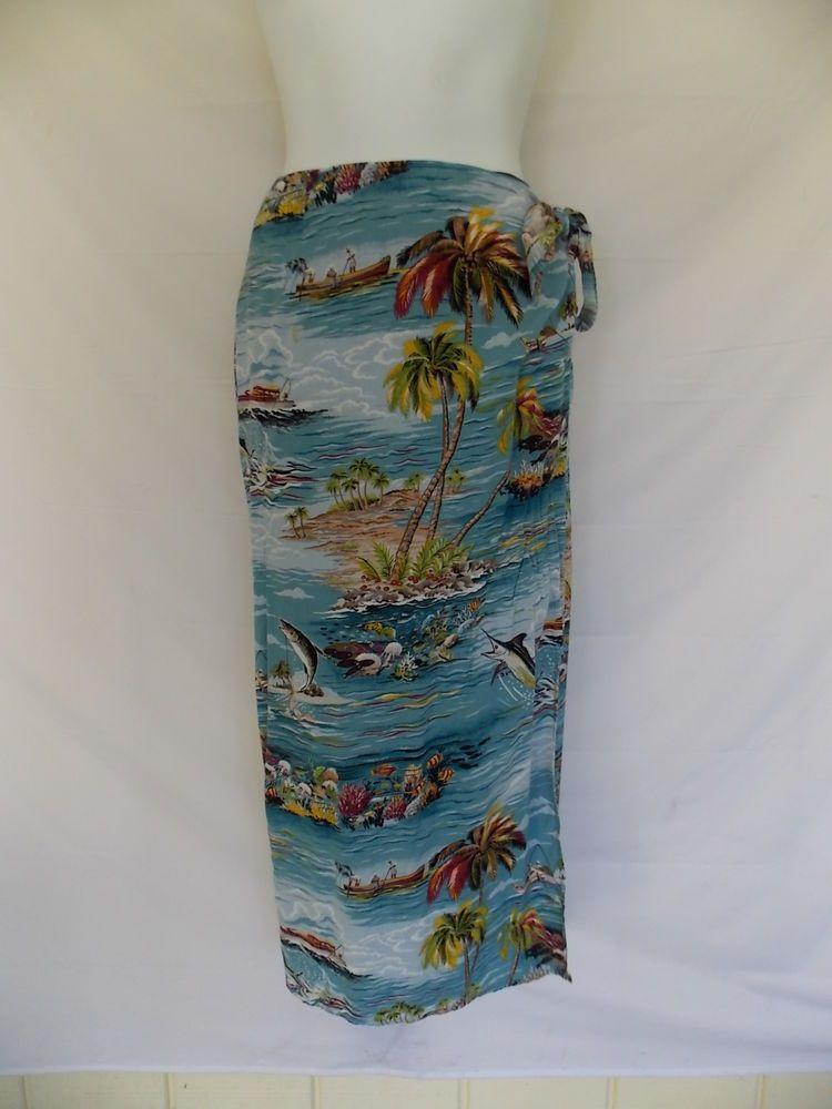 Reyn Spooner Wrap Skirt Sarong Hawaiian Long Full Length Print Blue womens Small #reynspooner #WrapSarong