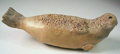 Vintage Animal Seal Sea Lion Alaskan Inuit Bone Carving Alaska Figurine Alaska Art Inuit Art Bone Art
