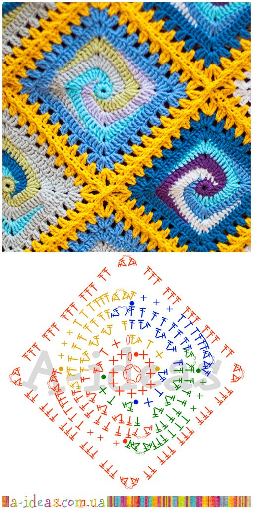 Diagram For Granny Square Crochet Stitch Signal Light Flasher Wiring Blanket Spiral | Ideas Pinterest Blankets ...