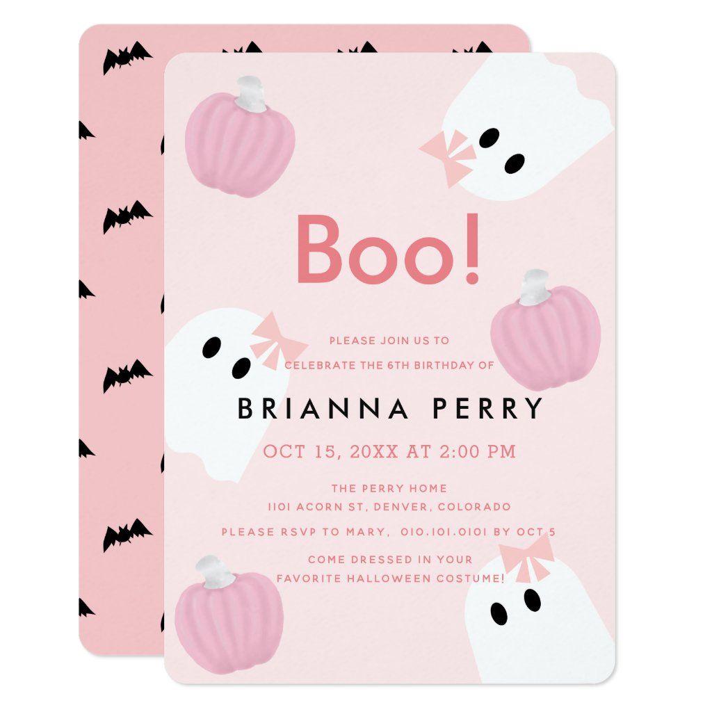 Boo! Halloween Ghost Girl Pumpkin Pink Birthday Invitation