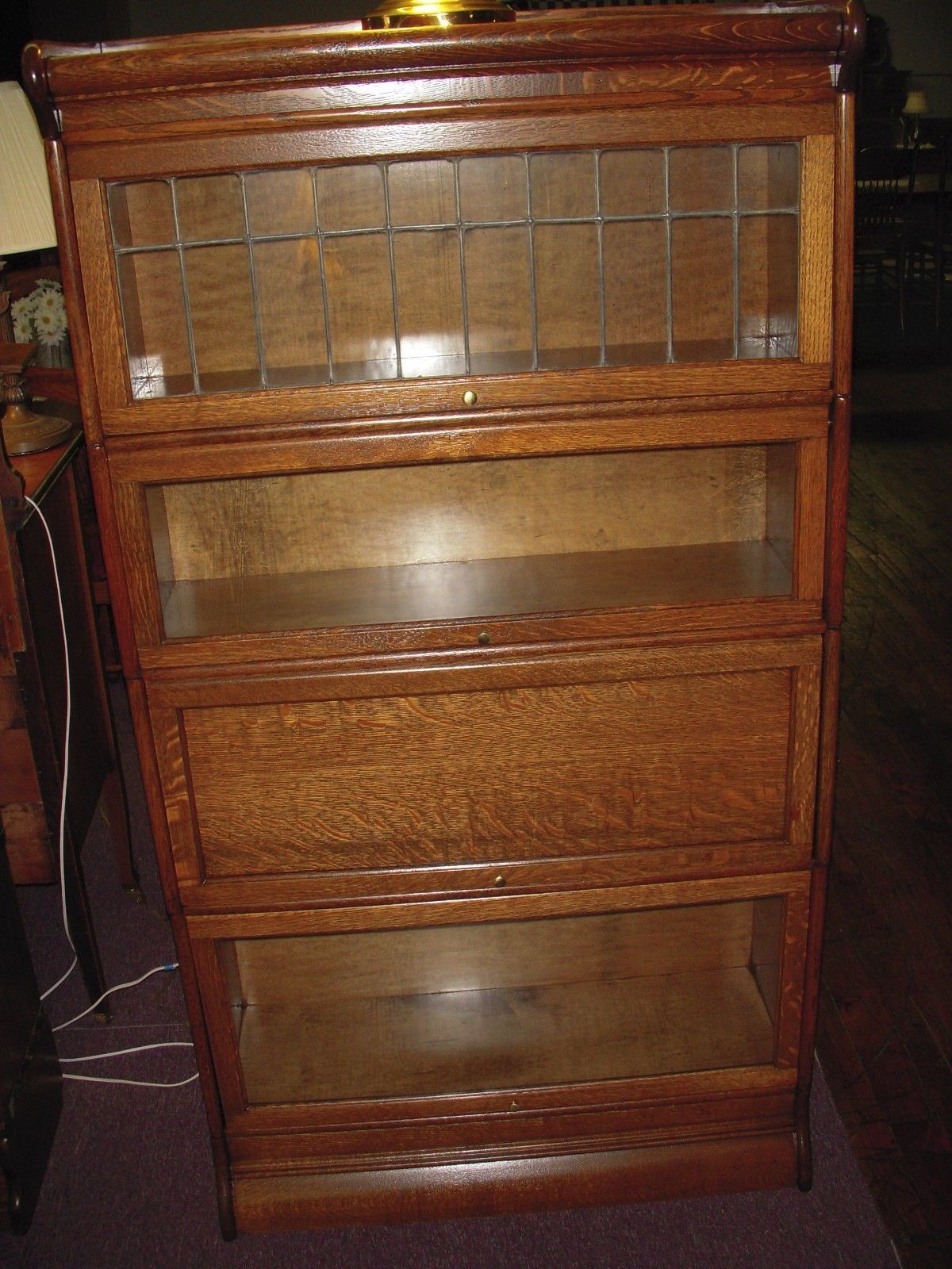 Antique Oak Bookcase Leaded Glass Barrister Lawyer Refinished Restore Book Shelf