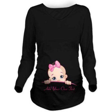 7895a67da Cafepress Personalized Pink Baby Girl Peek A Boo Maternity Long Sleeve  Maternity T-Shirt, Size: 2XLarge (+$3.00), Black