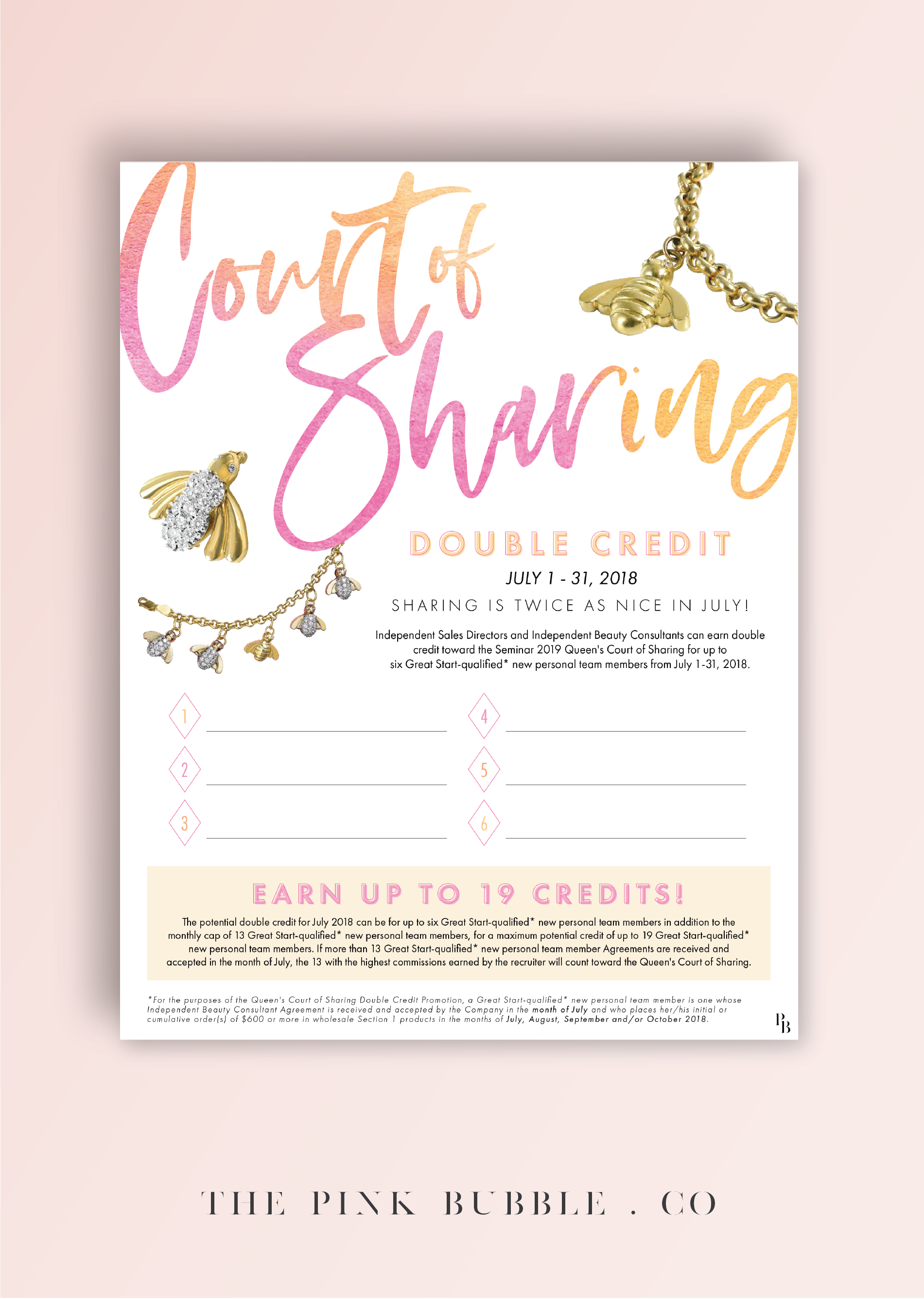 Mary Kay Court Of Sharing 2019 Double Credit Tracking Sheet Find It