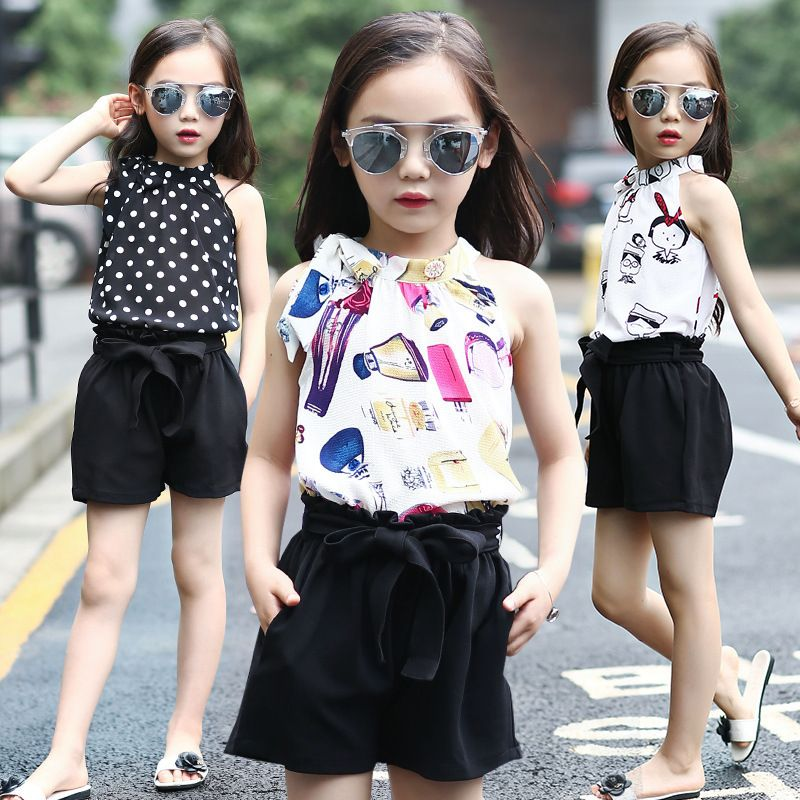 8d76e990e6b Summer Wear Girl Child New Pattern Korean Fashion Chiffon Camisole  Fivepence Pants Suit 2 Pieces Kids Clothing Sets 3 Colour  Affiliate