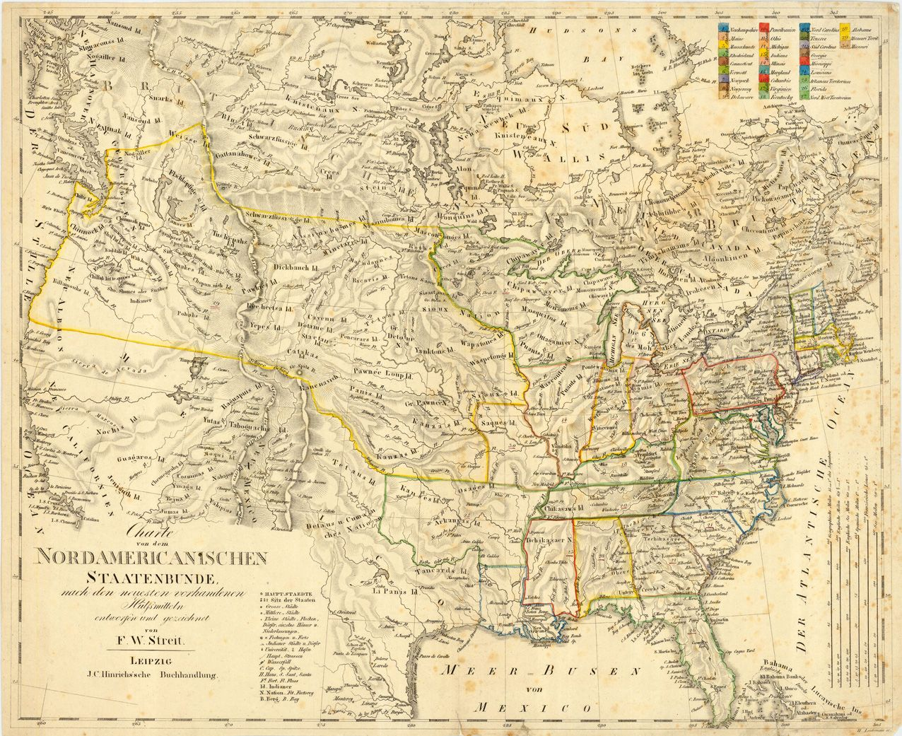 Fw Streit 1840 Usa Mapping In Pencil Map Us Map Old Maps - Us-map-1840