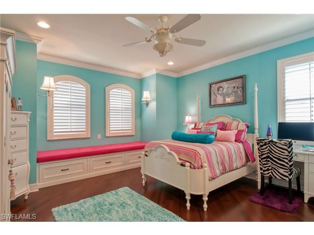 Turquoise And Hot Pink S Kids Bedroom With Wood Floors Zebra Chair Dubonnet Grande Model On Glacier Ct In Riverstone North Naples Florida