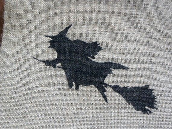 Halloween flying witch on broomstick silhouette burlap accent pillow cushion