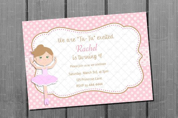 Ballerina Birthday Invitation Card Printable By NorthernDesigns 900