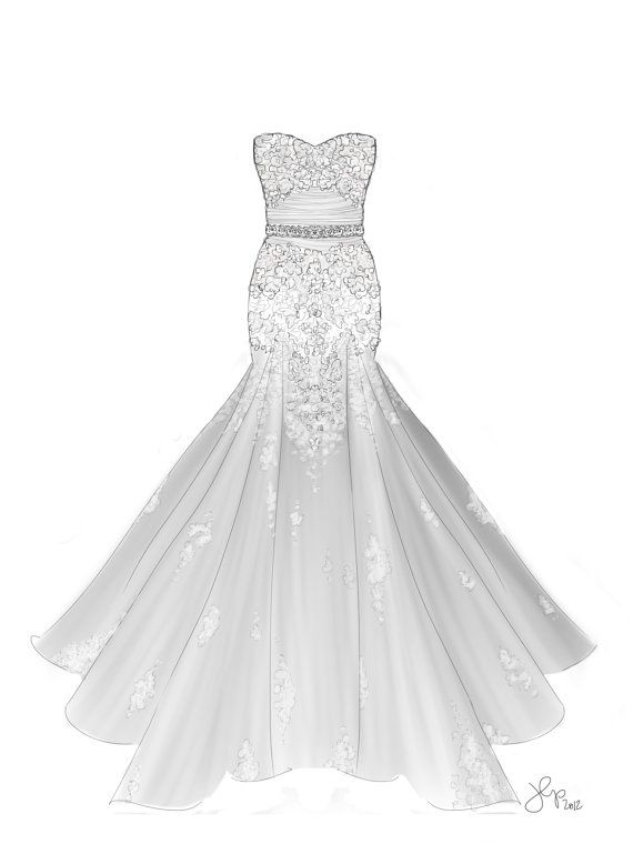 A Line Lace Dress Illustration