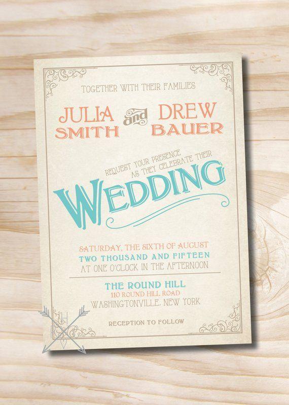 VINTAGE SCROLL POSTER Rustic Wedding Invitation Response Card