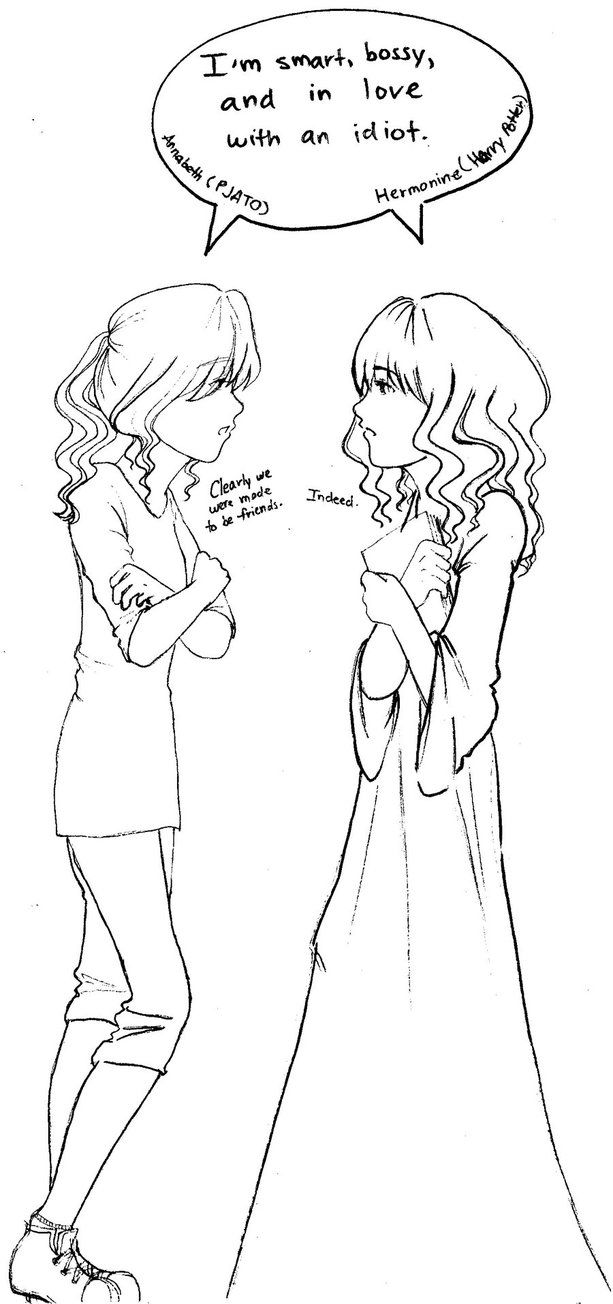 The Secondary Character- This picture depicts Hermione and Annabeth from the Harry Potter and Percy Jackson series. Both girls are depicted as being strong independent characters while being much more intelligent than hands on. Although both girls have been in their fair share of fights and have helped save the world on many occasions, neither is depicted as the real hero. Their characteristics give them the opportunity to be great heroes and together these two girls could take down the…