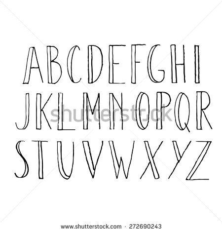 Vector alphabet. Hand drawn letters. Letters of the