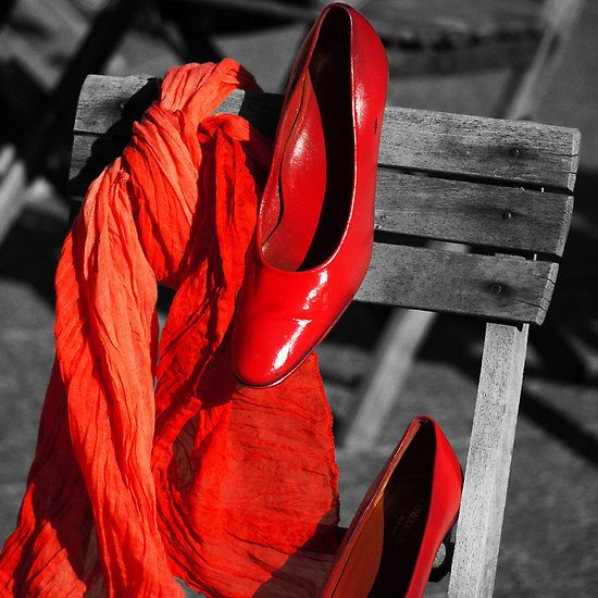 Red shoes, red scarf