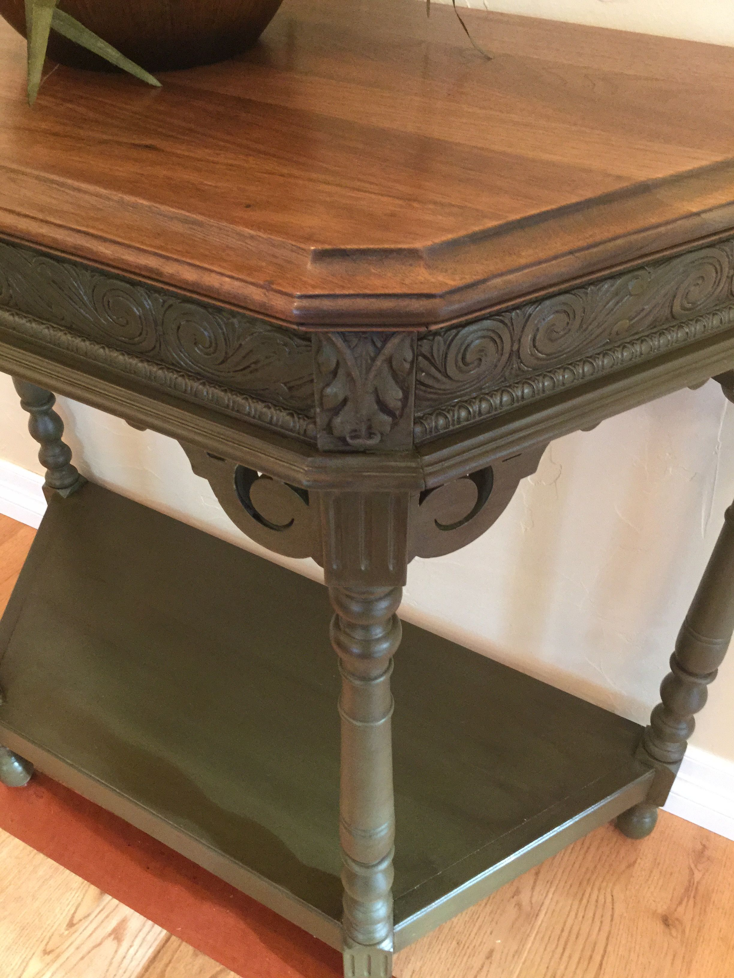 Accent, Entry table painted with Annie Sloan Olive chalk paint and ...