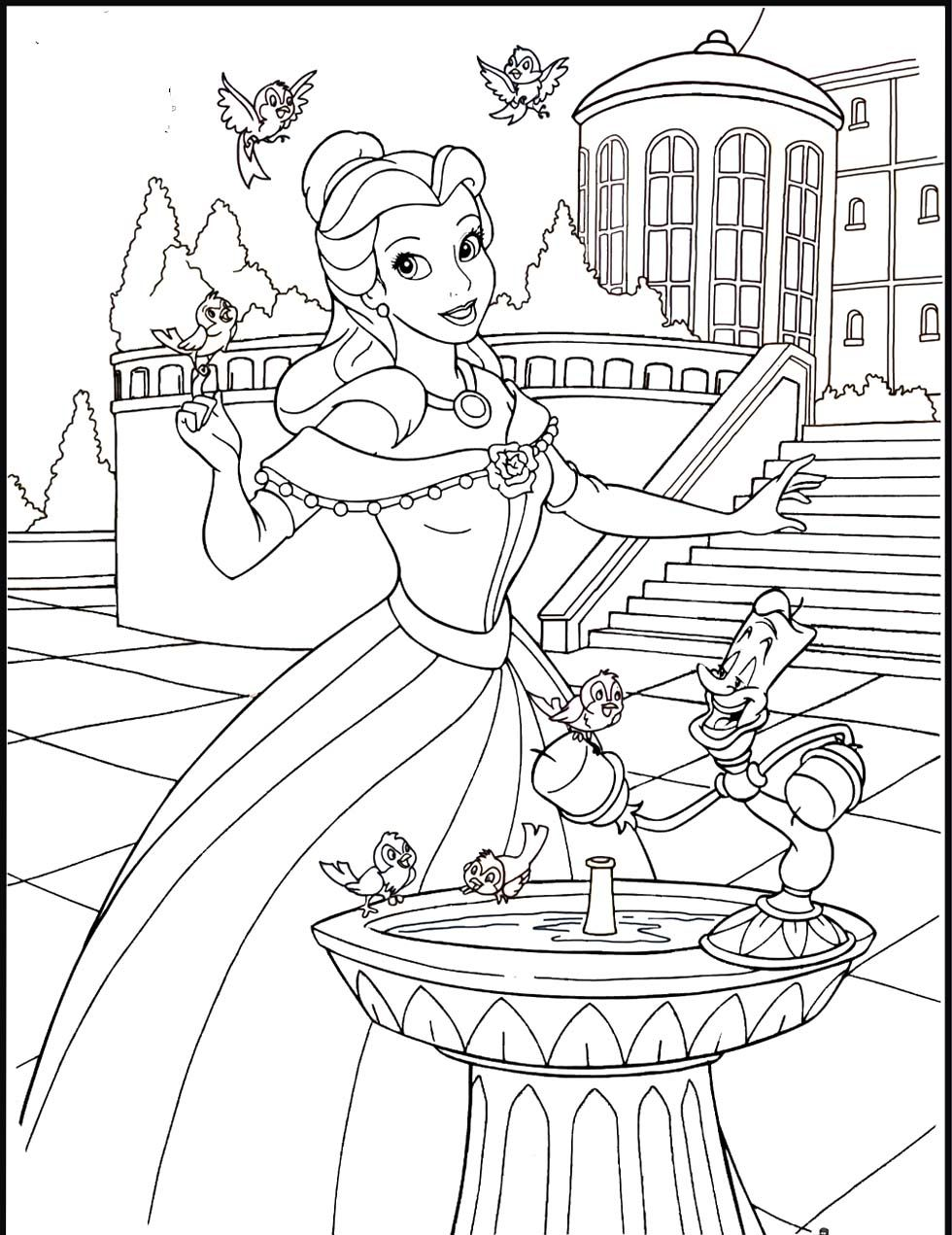 Disney princess birthday coloring pages - Pictures Princess Belle In The Castle Coloring Pages