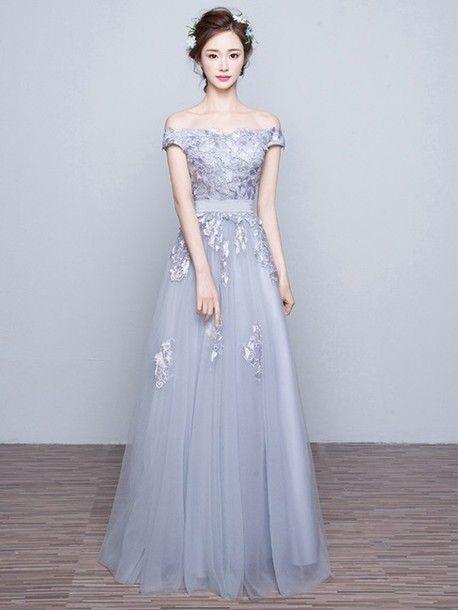 863081cf27 Dress: prom, prom dress, grey, grey dress, maxi, maxi dress, dressofgirl,  love, lovely, pretty, cool, cute, cute dress, bridesmaid, amazing, floral,  lace, ...