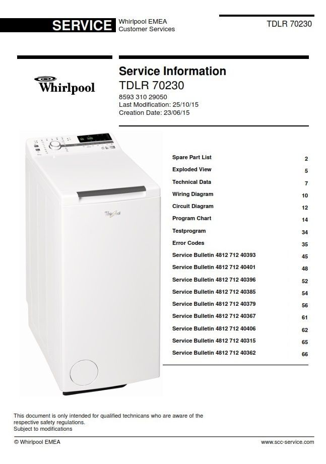 Whirlpool TDLR 70230 Top Washing Machine Service Manual