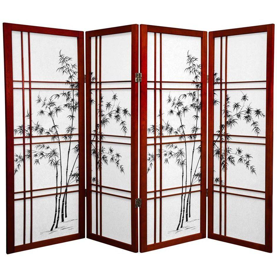 4 Ft Tall Double Cross Bamboo Tree Shoji Screen Wooden Dividers