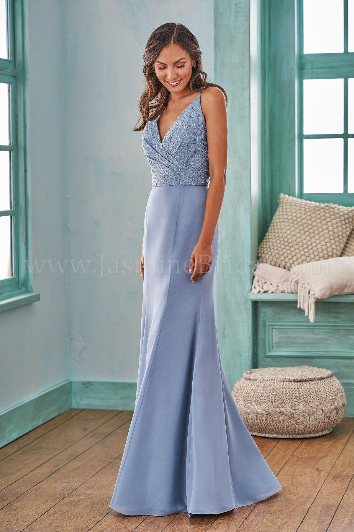 5246317d552e Jasmine Bridal | B2 Style B203007 in Bluestone | Lace/Poly Chiffon | Fit & Flare  Bridesmaid Dress | V-Neckline | Criss-Cross Straps | Lace Bodice | Poly ...