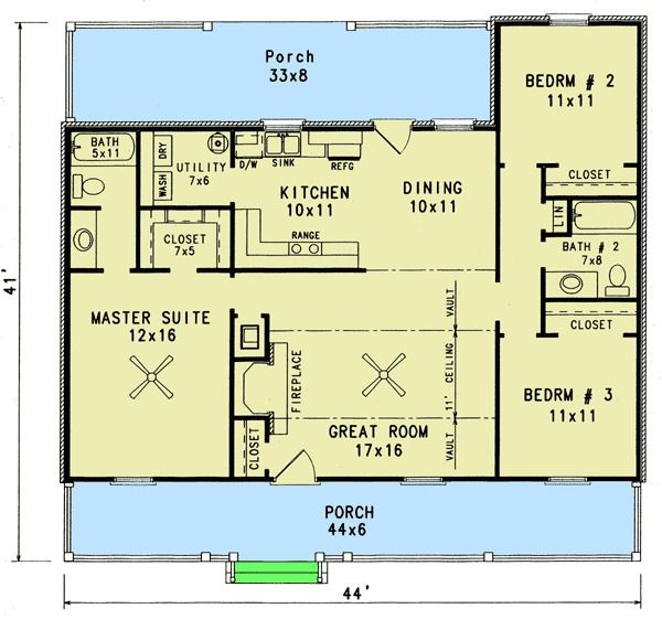 Plan 3435vl Starter Home With Two Covered Porches House Plans Vacation House Plans Cottage House Plans