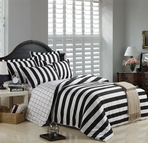 b850645279 Black and White Striped 100 Cotton Bedding for Full and Queen Bedding | eBay