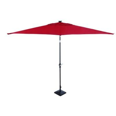 Astonica, 9 Ft. Rectangular Solar Powered Patio Umbrella In Scarlet,  50400148